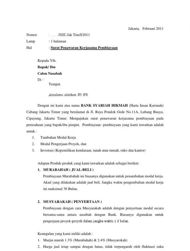 Contoh Surat Penawaran Kerjasama Investasi Penambahan Modal E1605575025313