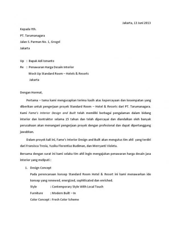 Contoh Surat Penawaran Proyek Interior