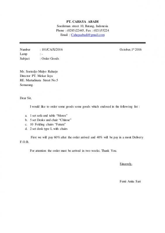 Contoh Surat Penawaran Dalam Bahasa Inggris Modified Block Style