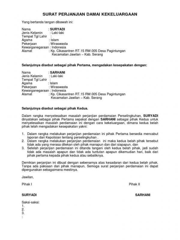 Contoh Surat Perjanjian Damai Kasus Pencemaran Nama Baik