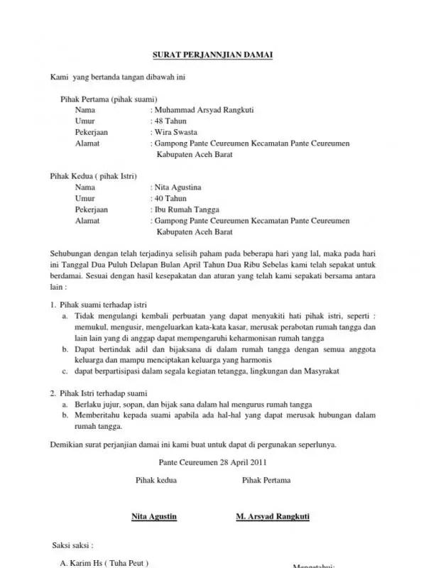 Contoh Surat Perjanjian Damai Masalah Rumah Tangga