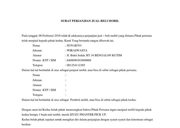 Contoh Surat Perjanjian Jual Beli Mobil Bekas Bagian Pembuka E1603517492497