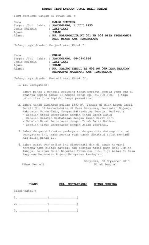 Contoh Surat Perjanjian Jual Beli Rumah Dengan Saksi