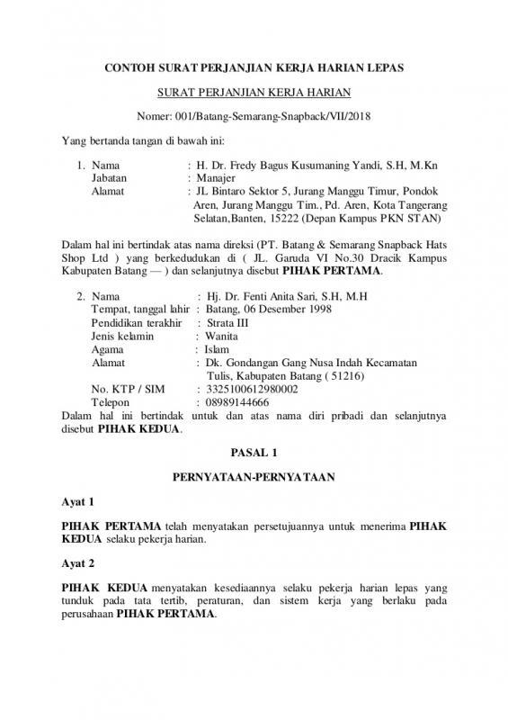 Contoh Surat Perjanjian Kontrak Kerja Harian Lepas