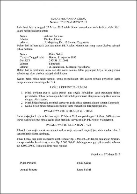 Contoh Surat Perjanjian Kontrak Kerja Karyawan Secara Umum