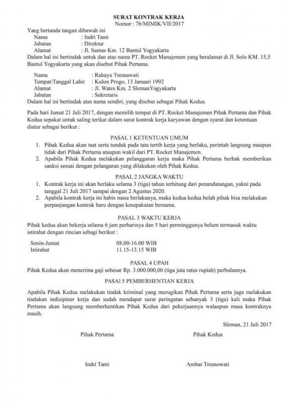 Contoh Surat Perjanjian Kontrak Kerja Karyawan Tetap
