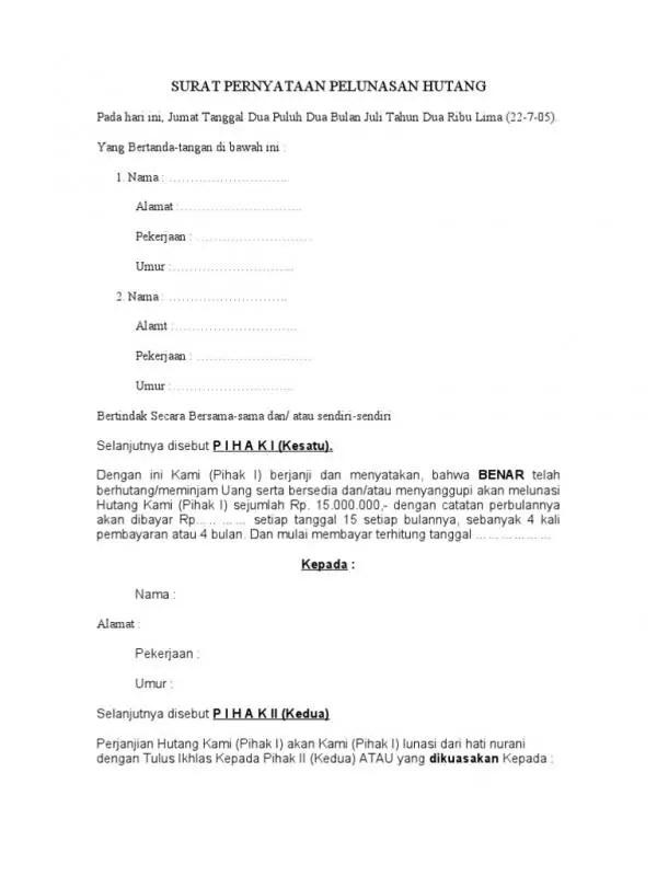 Contoh Surat Perjanjian Pelunasan Hutang Keperluan Mendesak