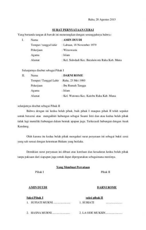 Contoh Surat Perjanjian Pisah Suami Istri