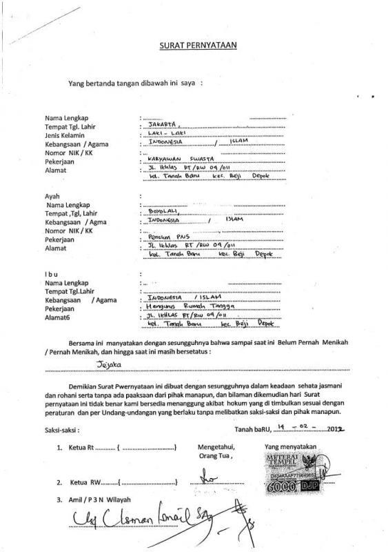 Contoh Surat Perjanjian Pra Nikah Dengan WNI