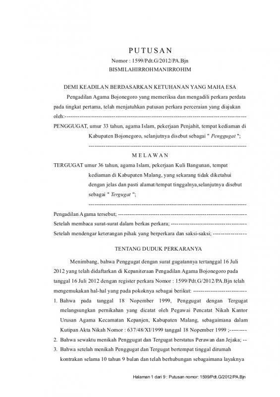 Contoh Surat Permohonan Cerai Karena Ditinggalkan