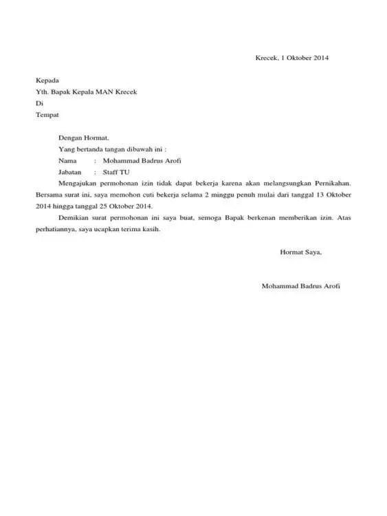 Contoh Surat Permohonan Cuti Menikahkan Anak