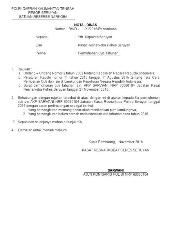 Contoh Surat Permohonan Cuti Tahunan 1