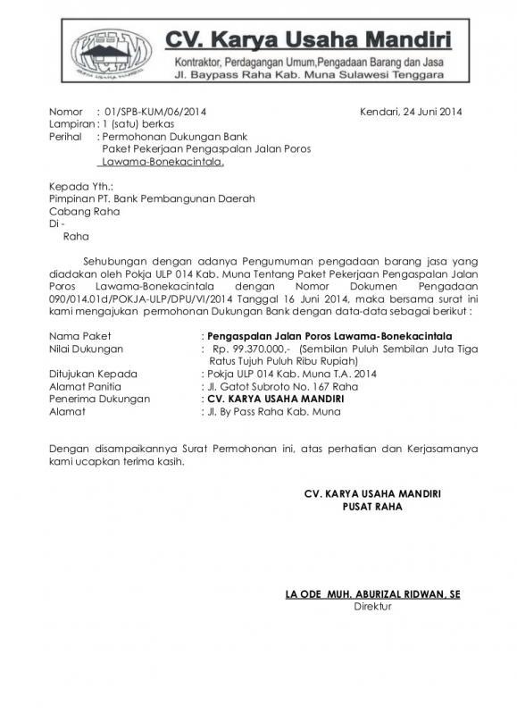 Contoh Surat Permohonan Dukungan Material Kepada Bank