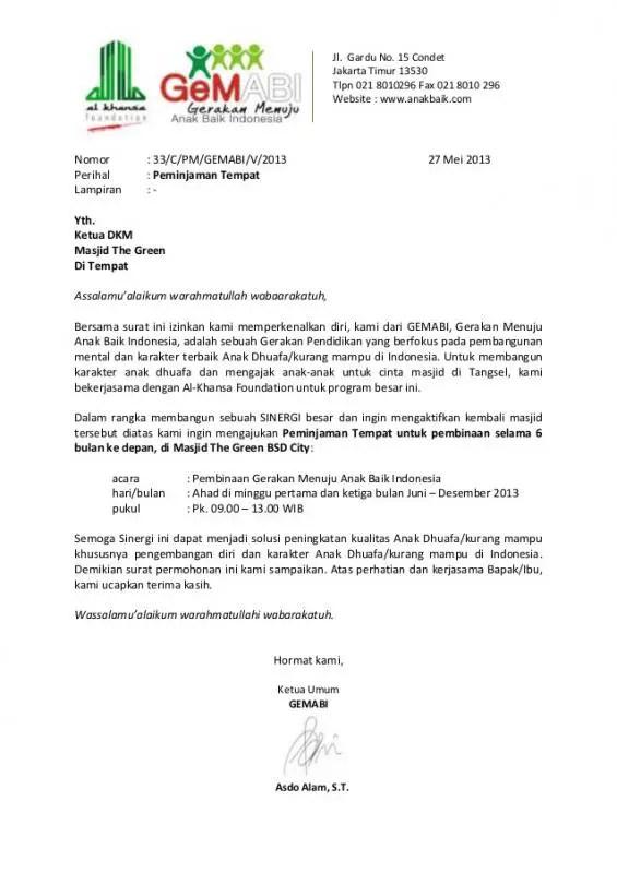 Contoh Surat Permohonan Izin Penggunaan Tempat PDF