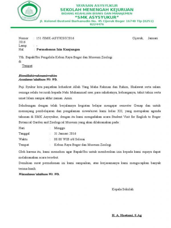 Contoh Surat Permohonan Kunjungan Belajar