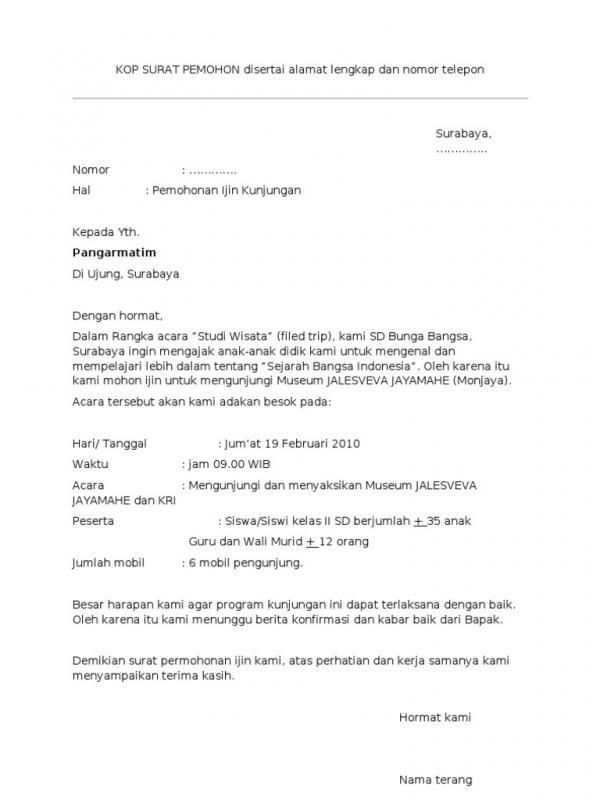Contoh Surat Permohonan Kunjungan Ke Museum