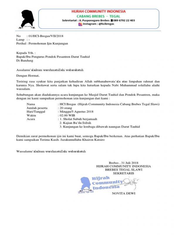 Contoh Surat Permohonan Kunjungan Ke Pondok Pesantren