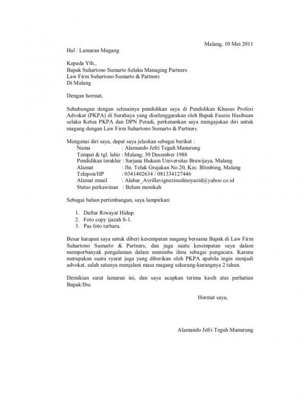 Contoh Surat Permohonan Magang Advokat