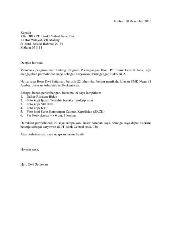 Contoh Surat Permohonan Magang Di Bank
