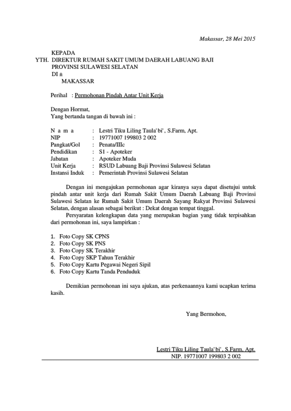 Contoh Surat Permohonan Mutasi Karyawan Swasta