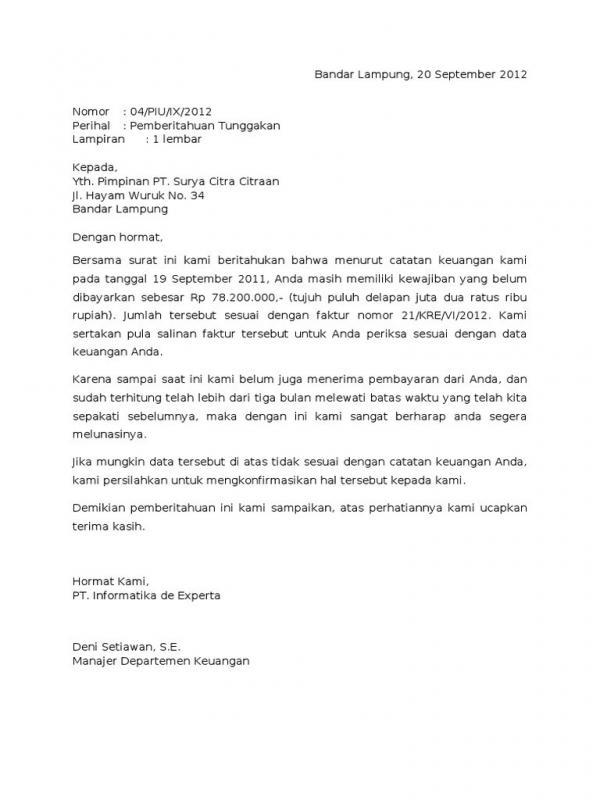 Contoh Surat Permohonan Pembayaran Piutang Jatuh Tempo
