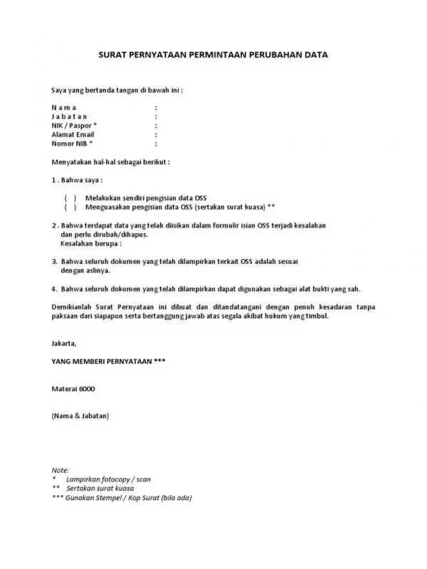 Contoh Surat Permohonan Perubahan Data OSS