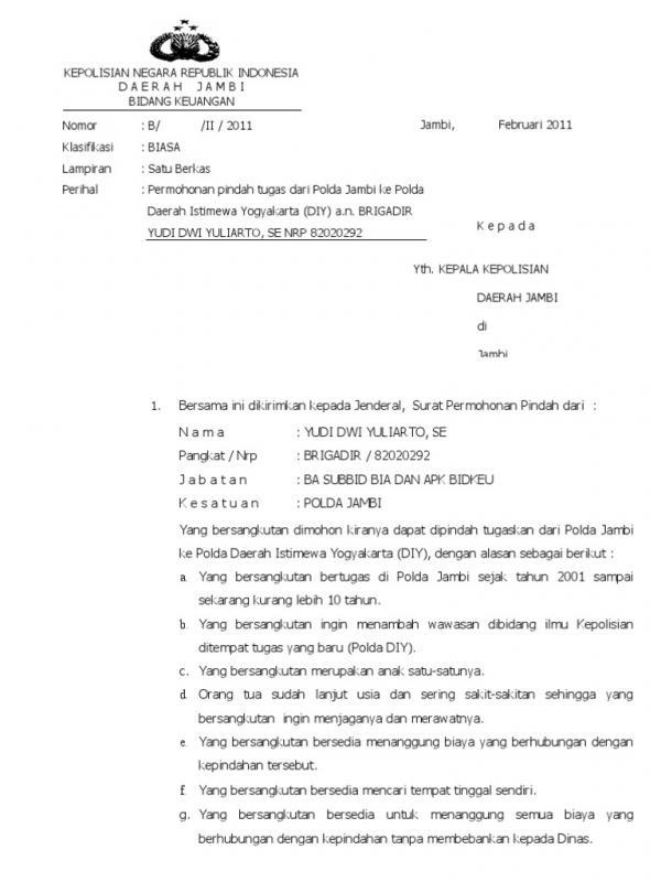 Contoh Surat Permohonan Pindah Tugas Polri