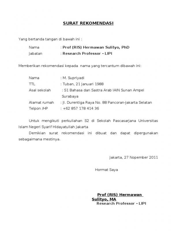 Contoh Surat Permohonan Rekomendasi Melanjutkan Pendidikan S2