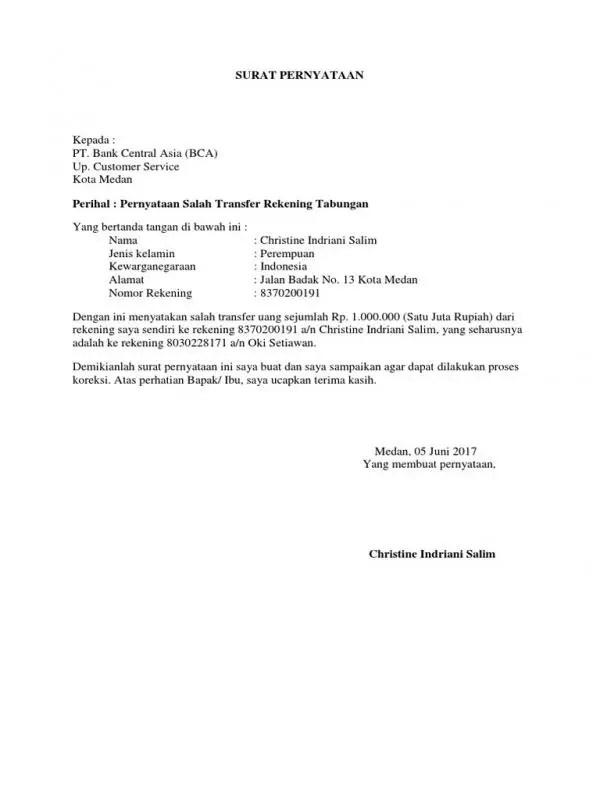 Contoh Surat Permohonan Untuk Pengembalian Kelebihan Transfer Ke Sesama Bank