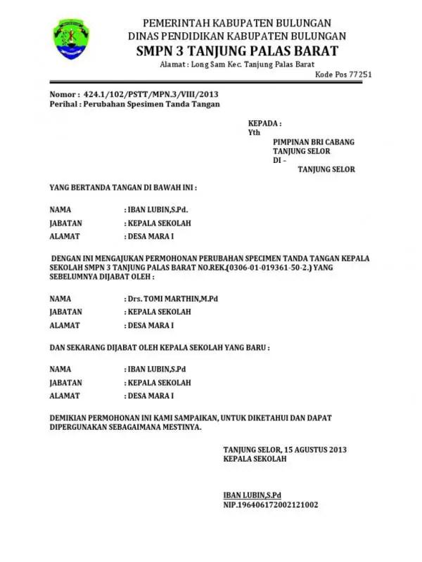 Contoh Surat Permohonan Ganti Nama Rekening Bank