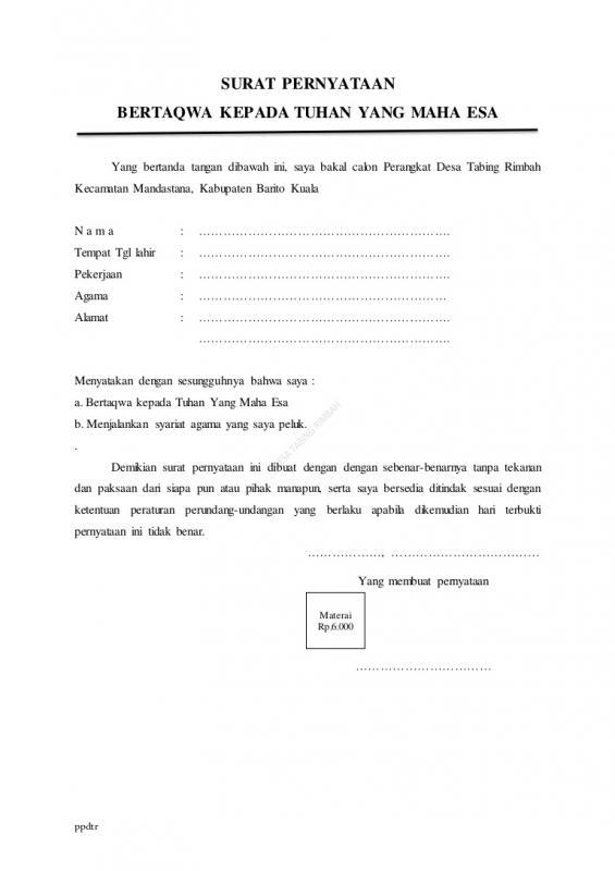 Contoh Surat Pernyataan Bertaqwa Kepada Tuhan YME