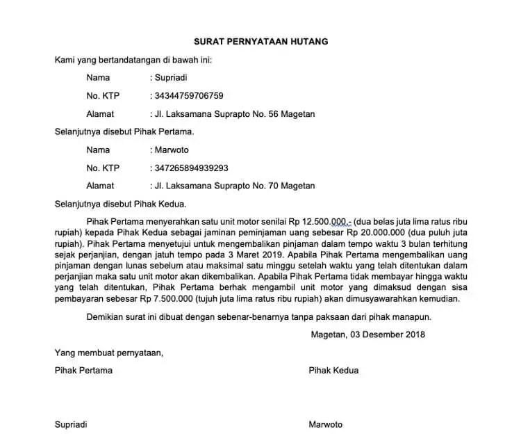 Contoh Surat Pernyataan Perjanjian Hutang Piutang