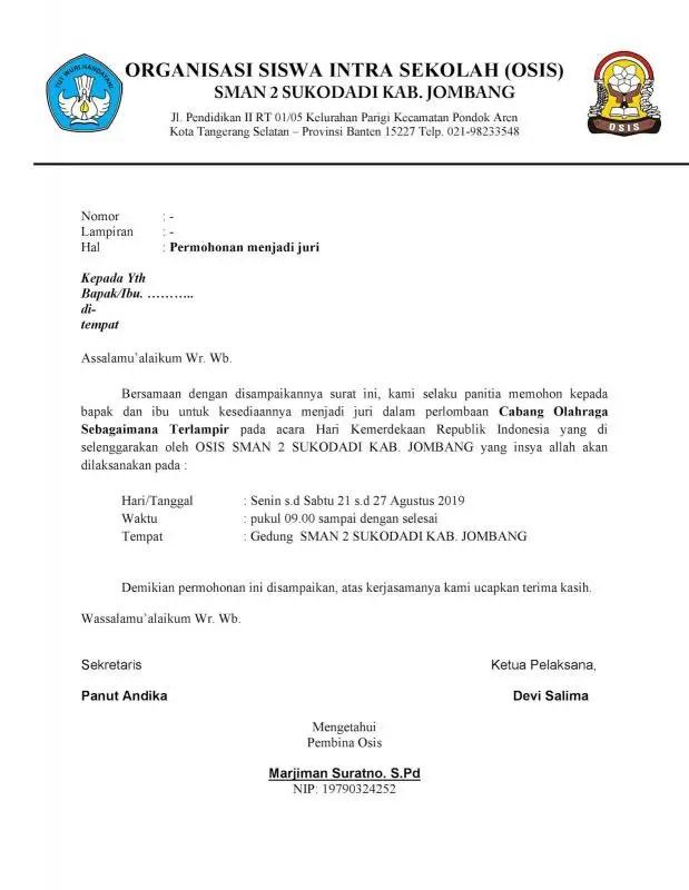 Contoh Surat Resmi Permintaan Data Untuk Persyaratan Lomba
