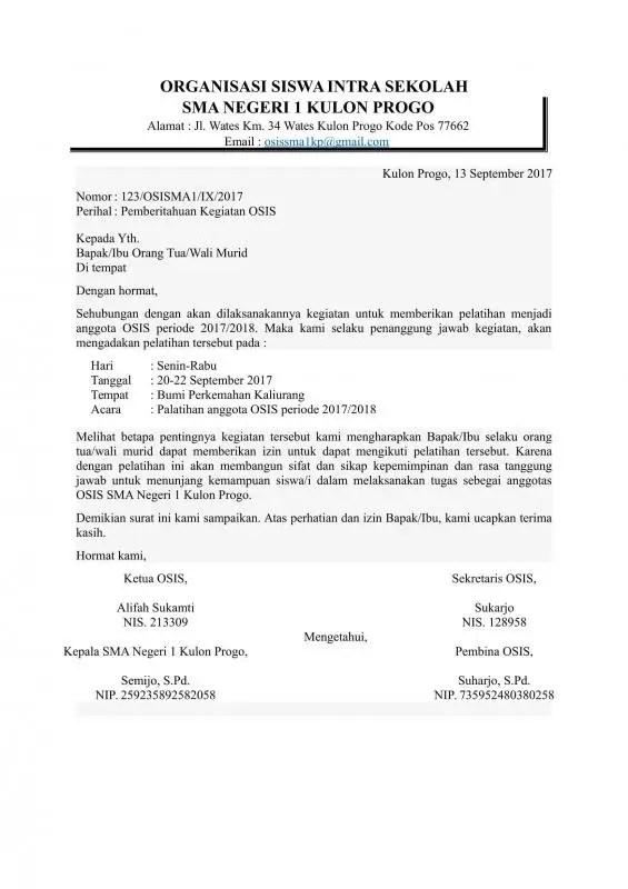 Contoh Surat Resmi Sekolah Kegiatan OSIS