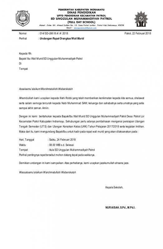 Contoh Surat Resmi Sekolah Undangan Rapat Orang Tua