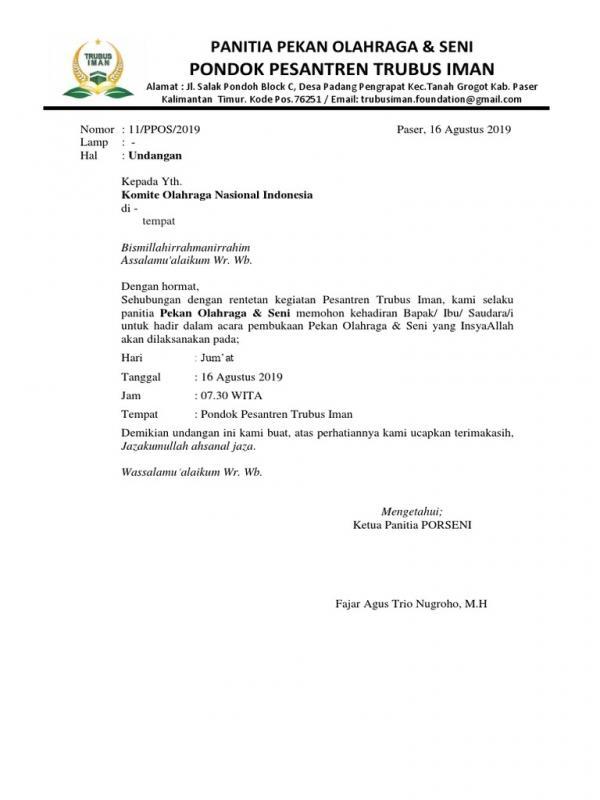Contoh Surat Resmi Dalam Bahasa Sunda Pekan Olahraga Antar Kelas
