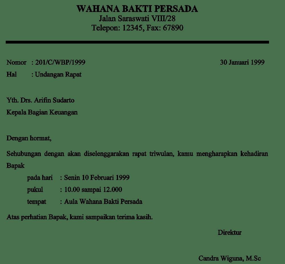 Contoh Surat Undangan Resmi Rapat Dengan Pegawai