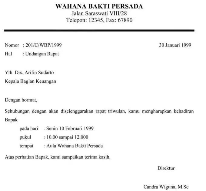 Contoh Surat Undangan Resmi Rapat