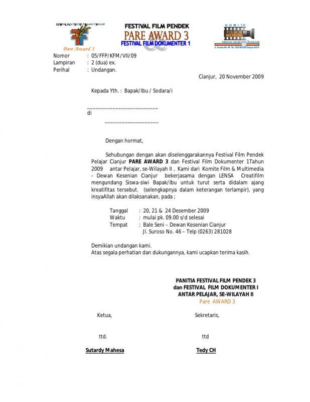 Contoh Surat Undangan Tidak Resmi Untuk Konser Musik