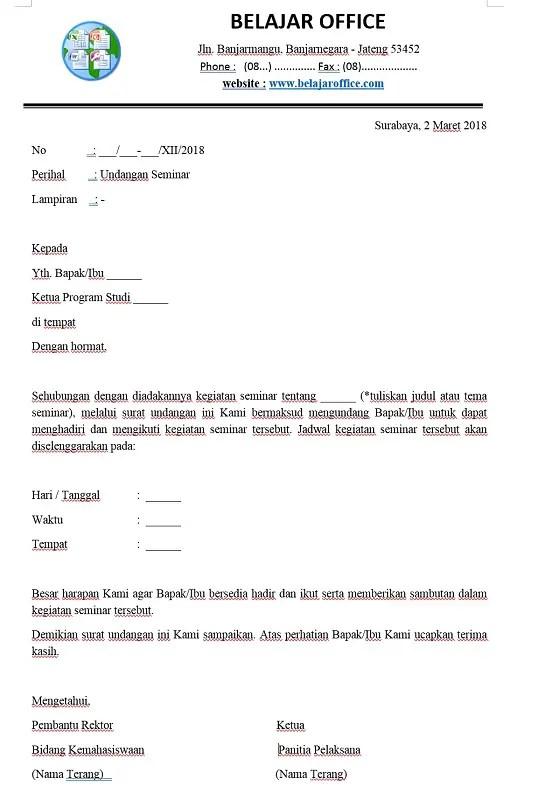 Surat Dinas Resmi Sekolah Menghadiri Seminar Atau Pelatihan 1