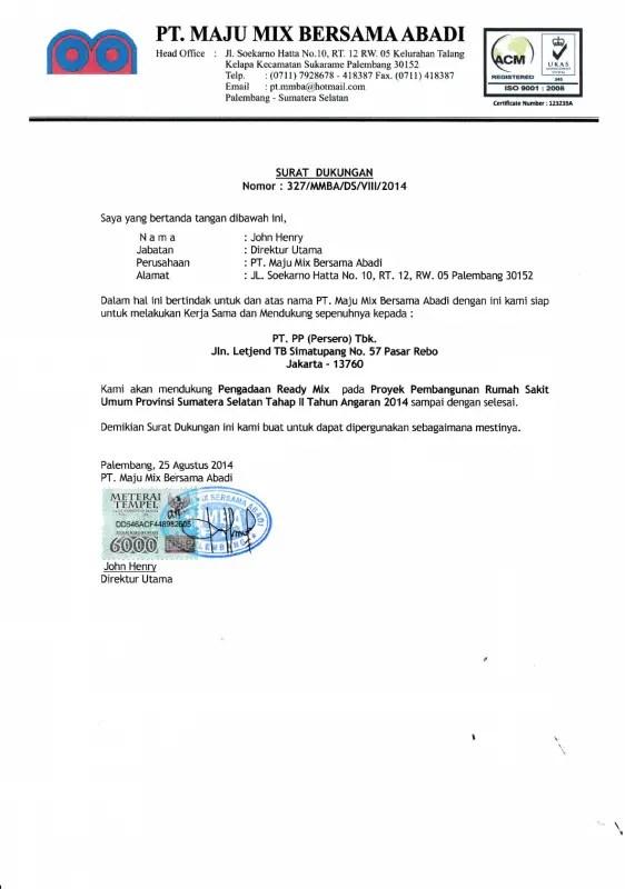 Surat Dukungan Material Besi Dan Baja