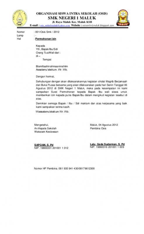 Surat Izin Mengikuti Kegiatan Pendidikan Pelatihan Kepemimpinan Anggota OSIS