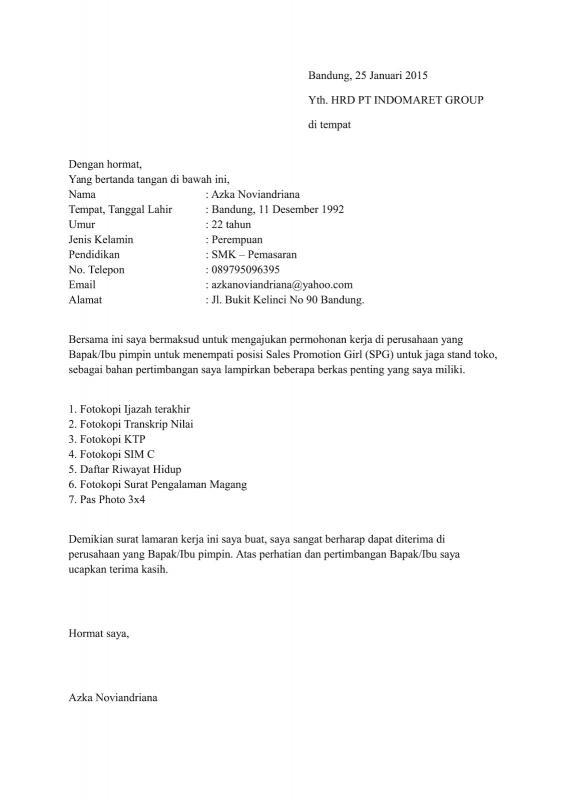Surat Lamaran Kerja Fresh Graduate Untuk SPG