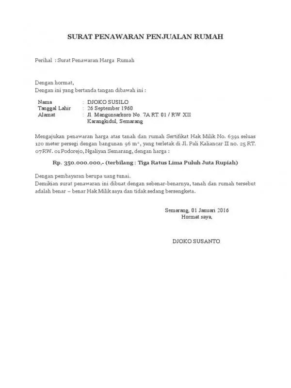 Surat Penawaran Rumah
