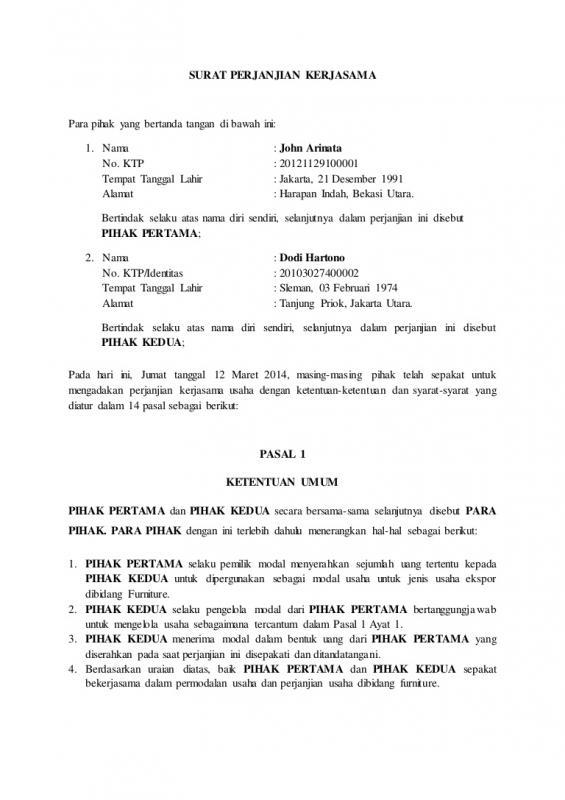 Surat Perjanjian Kerjasama Supplier Jasa