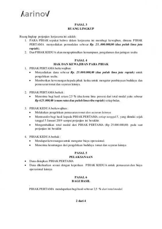 Surat Perjanjian Kerjasama Supplier Sayuran