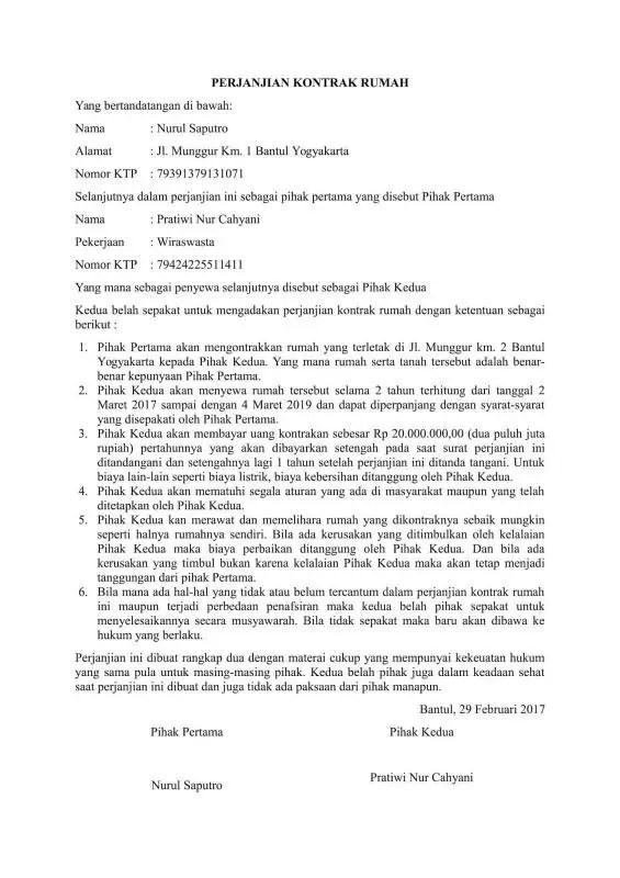 Surat Perjanjian Kontrak Rumah Bulanan