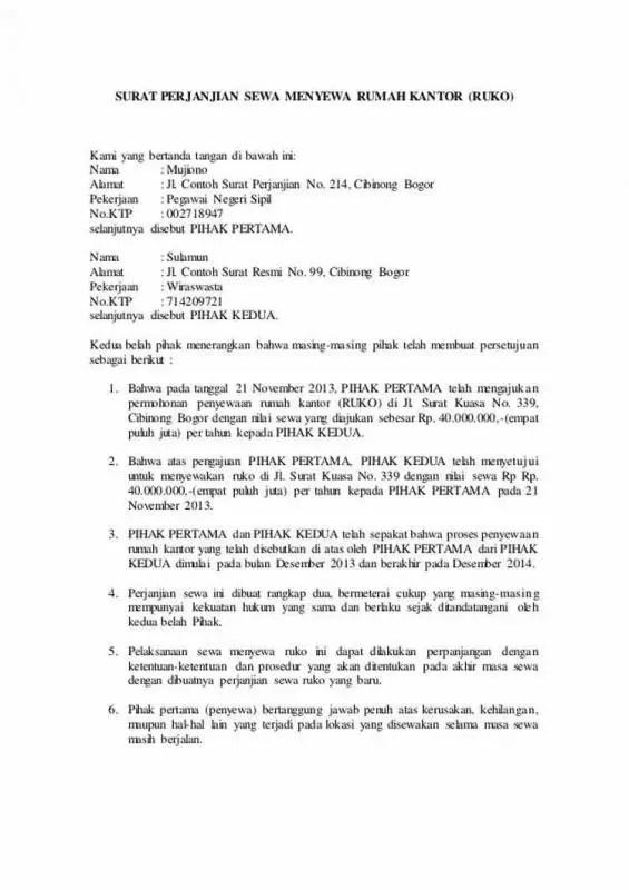 Surat Perjanjian Kontrak Rumah Untuk Kantor 1