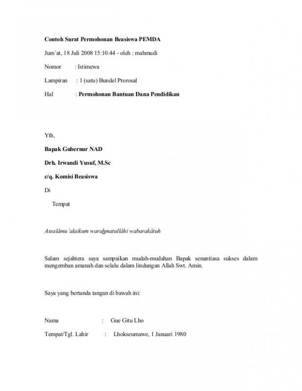 Surat Permohonan Beasiswa Pemerintah Daerah