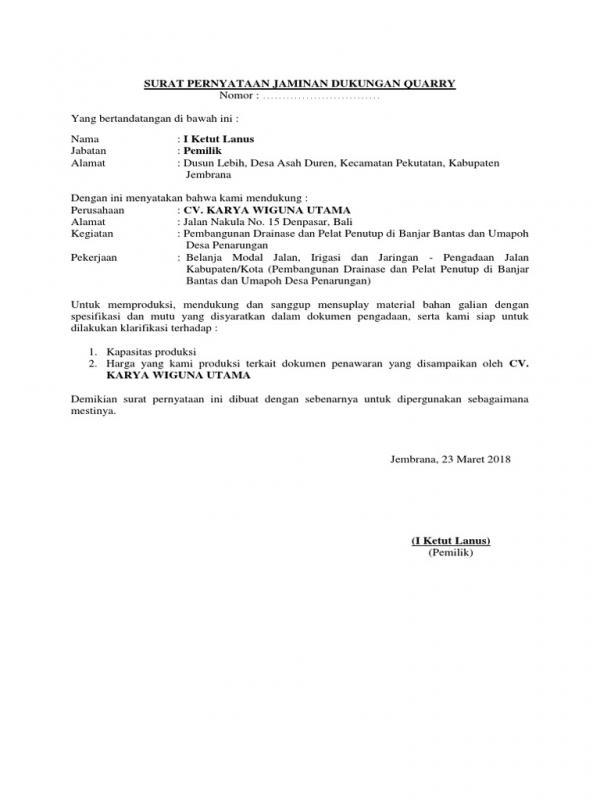 Surat Permohonan Dukungan Material Tambang